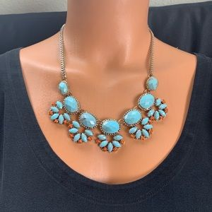 Jewelry - Women's Blue And Orange Turquoise Floral Necklace